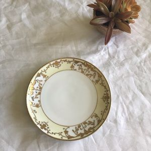 Hand painted vintage plate gold rim